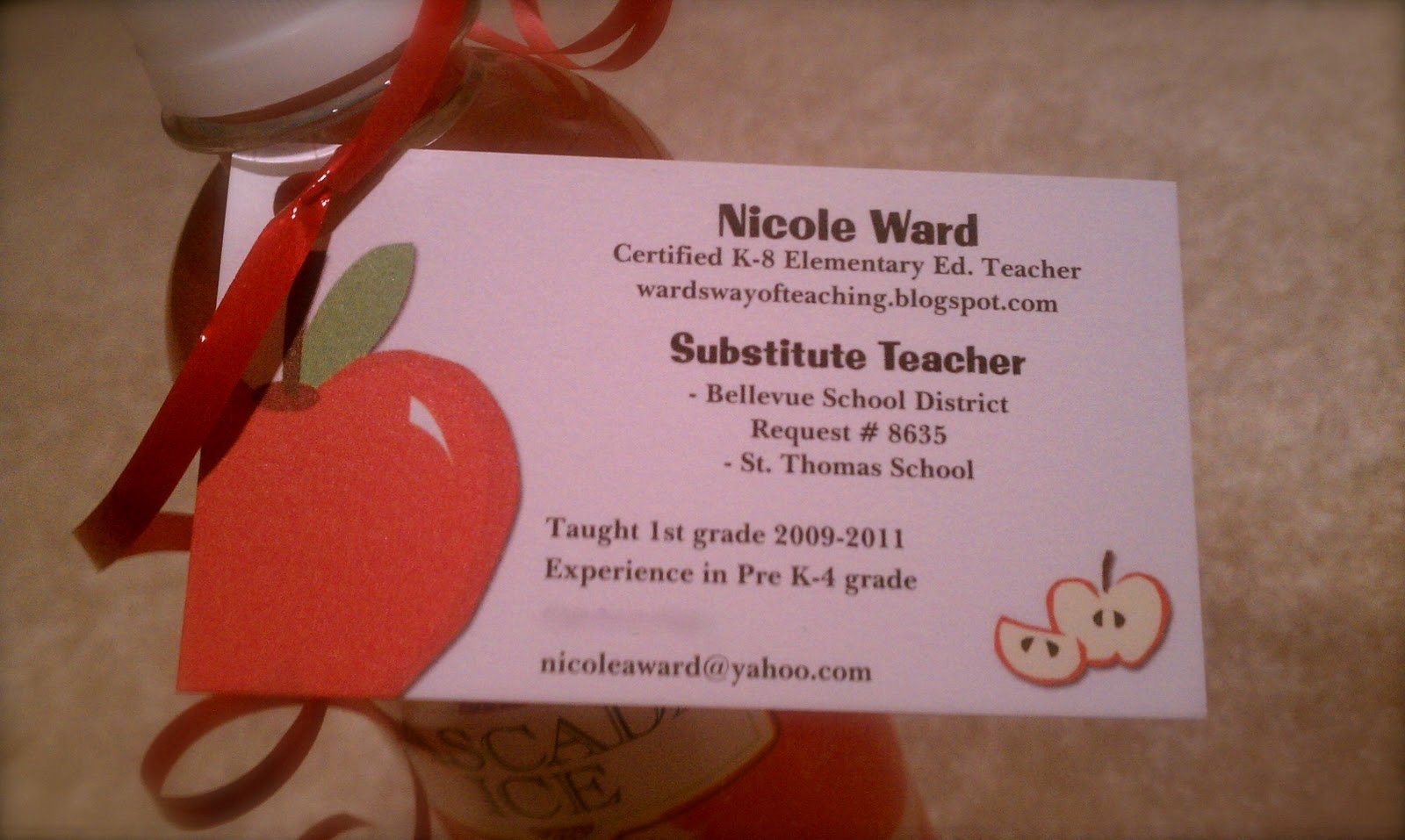 40 Substitute Teacher Business Cards