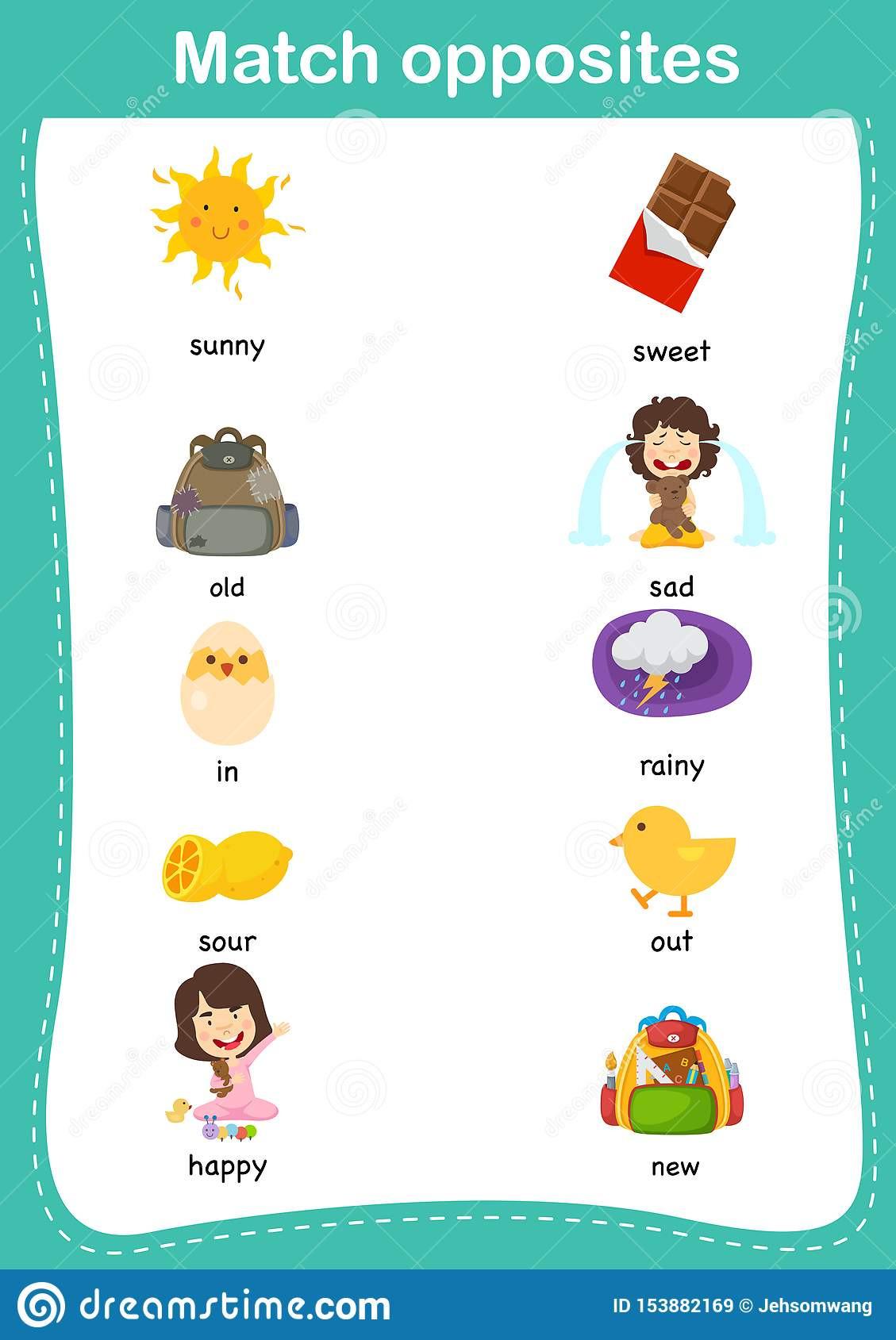 20 Opposites Worksheet For Preschool