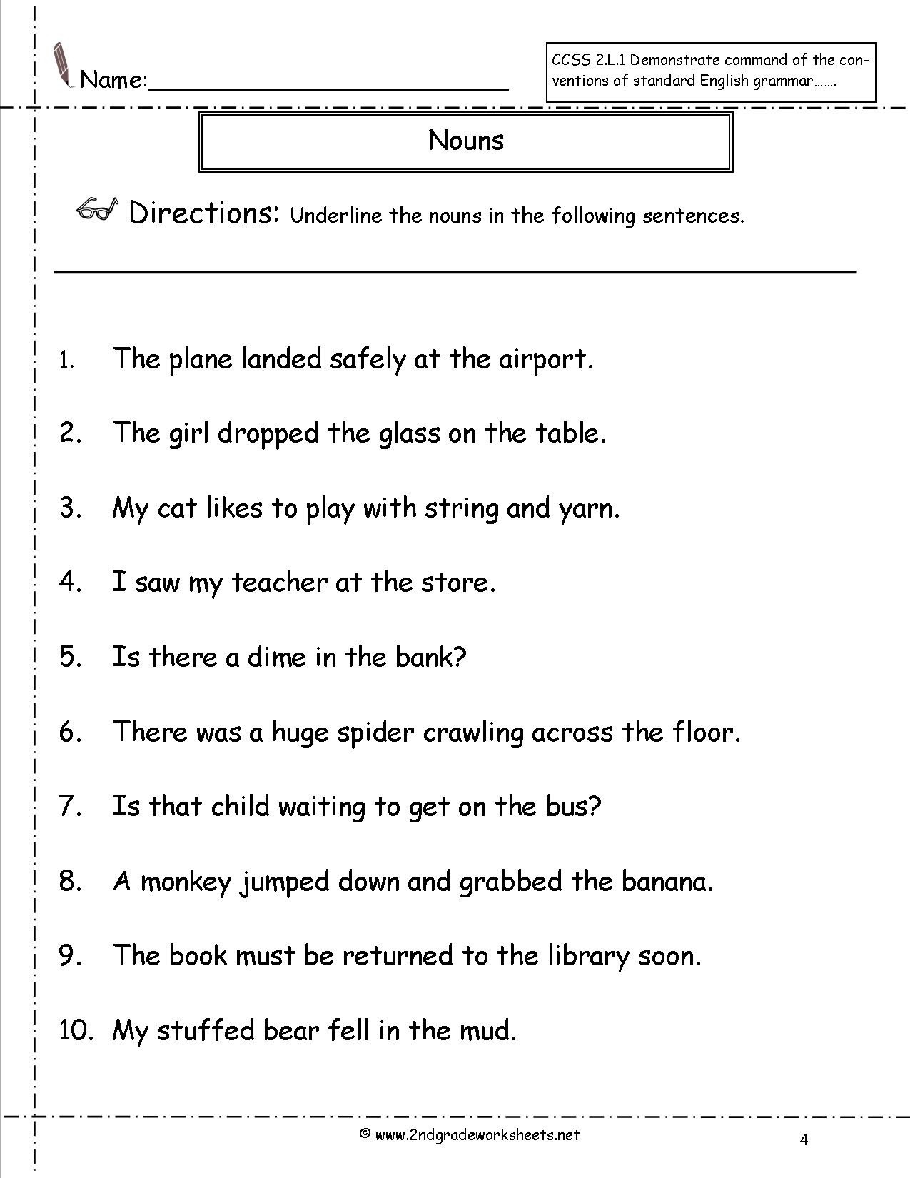 20 Second Grade Pronouns Worksheet