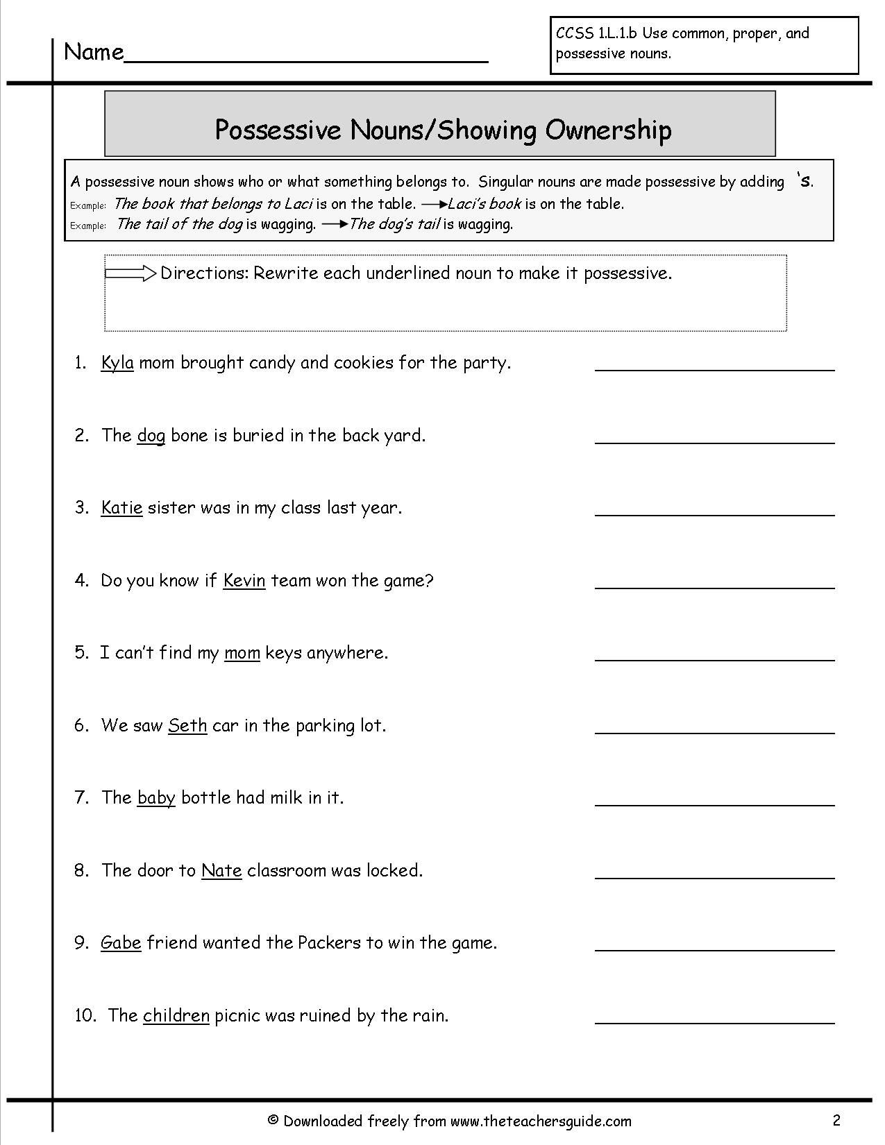 20 Possessive Pronouns Worksheet 2nd Grade