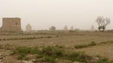 Pigeonniers dans nuage de sable