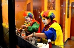 Clowns eat
