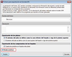 CYPECAD. Exportación de la vista 3D del modelo analítico de CYPECAD al modelo Open BIM del proyecto