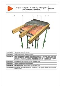 Detalles Constructivos.Forjado de viguetas de madera y entrevigado con bovedillas cerámicas. EMF050