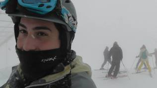 Boys and girls, keep your mask on when the wind is strong at 5000+ feet. I tried blinking a few seconds after this picture and realized my eyelashes had frozen together a bit.