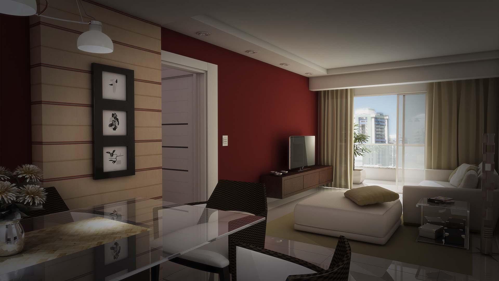 3D da sala do residencial alianza