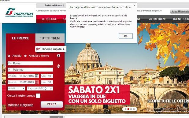 """Aviso do navegador ao viajante que tenta inadvertidamente procurar um trem Freccia de Roma a Palermo: """"A estação de chegada está errada ou não é servida pelos Freccia."""