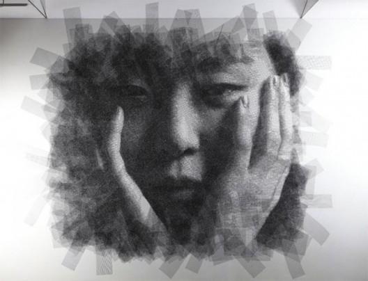 Park Seung Mo retrato con alambre 1