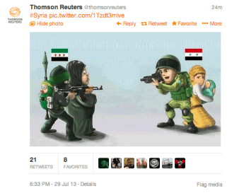 Propaganda cartoon posted by the SEA to the hacked @ThomsonReuters twitter account