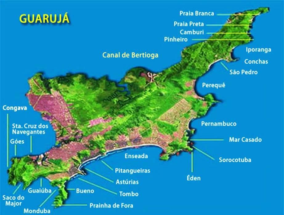 Mapa das praias do Guarujá- SP - Litoral Paulista
