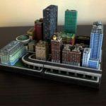 Miniaturas de edificios impresos en 3D