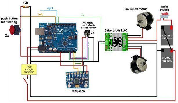 esquema segway - Constrúyete tu propio Segway totalmente funcional con Arduino Uno
