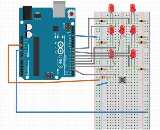 dado arduino1 555x450 - Tutorial para aprender a construir un sencillo lanzador de dados