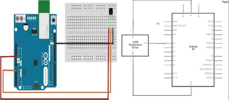 sensor de temparatura LM35 diagrama 800x351 - Arduino - Sensor de temperatura
