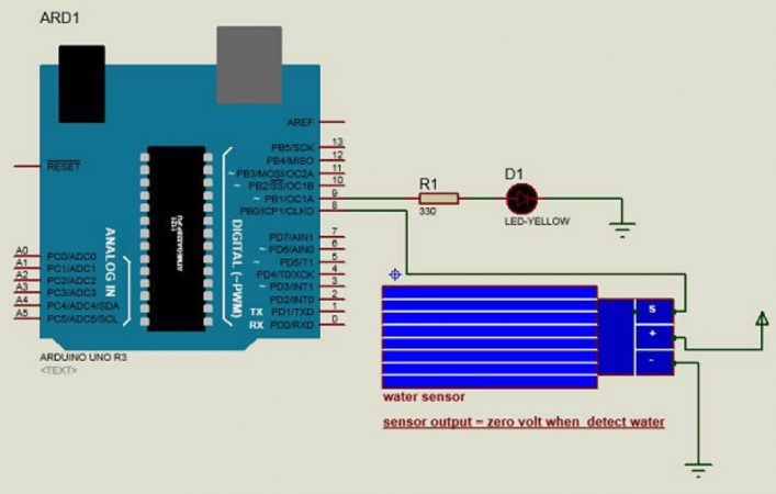 sensor de agua Arduino esquema