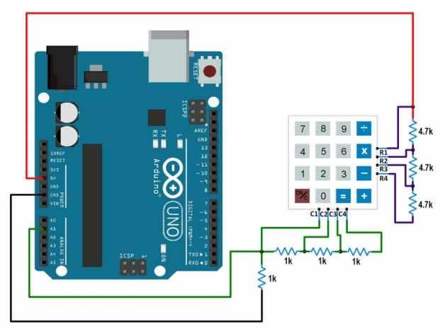 conexiones teclado con Arduino Uno usando una conexión