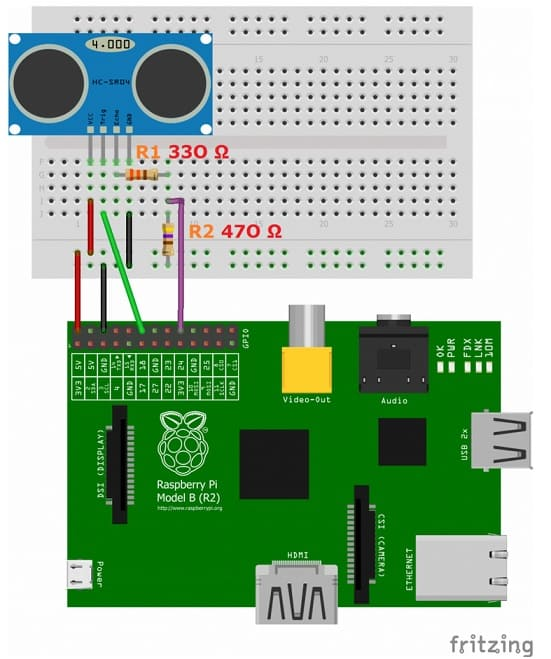 conexión de un sensor de ultrasonidos a una Raspberry Pi