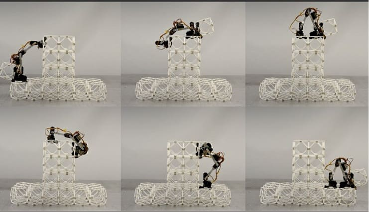 Un robot ensamblador escoge un nuevo bloque