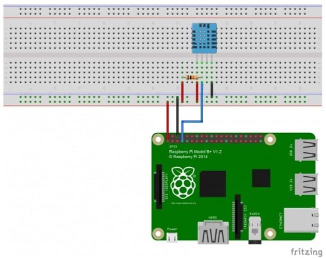sensor de humedad y temperatura conectado a una Raspberry Pi