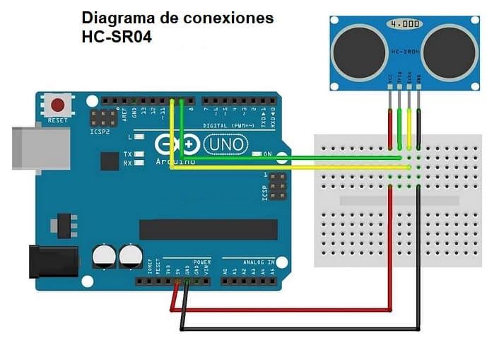 diagrama de conexiones hc SR04 - Electrogeek