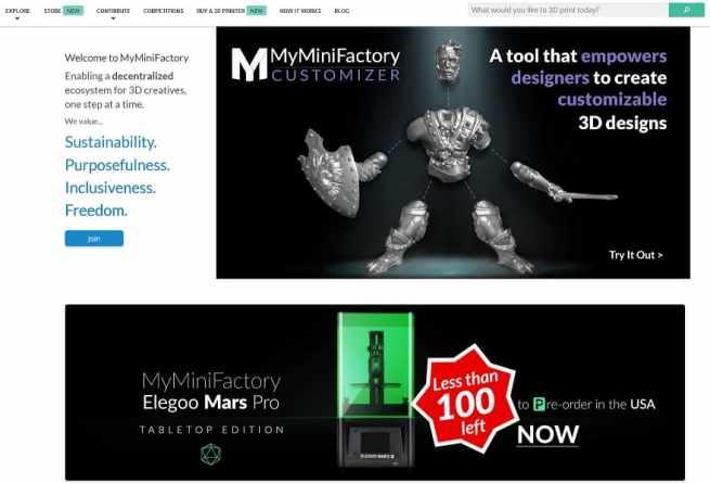 myminifactory - Las mejores alternativas a Thingserve para impresión en 3D