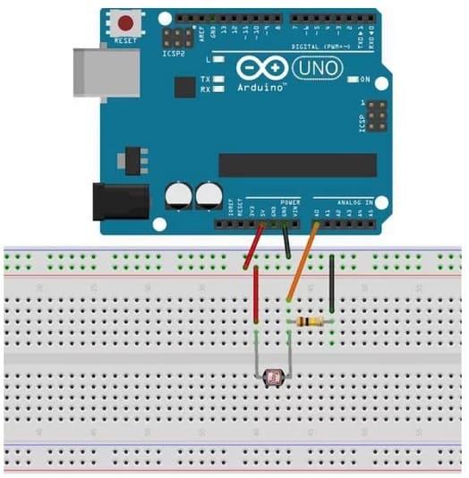 conexion Arduino a LDR - LDR o Resistencia dependiente de la luz, Light Dependent Resistor