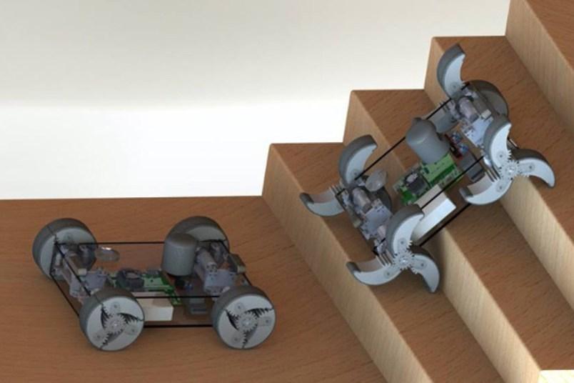 a rendering depicts a waltrs approach to surmount - El robot α-WaLTR tendrá ruedas que se doblan como patas