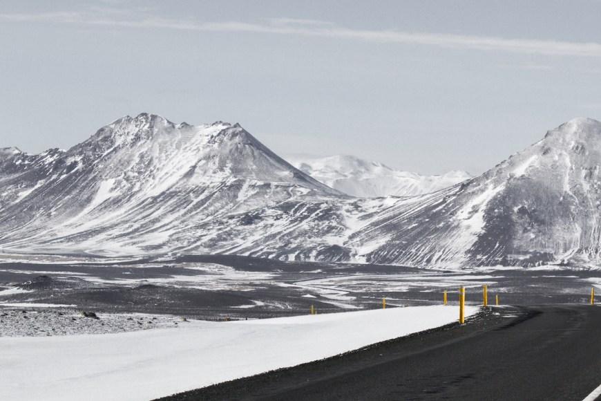 Carreteras nevadas en el norte de Islandia