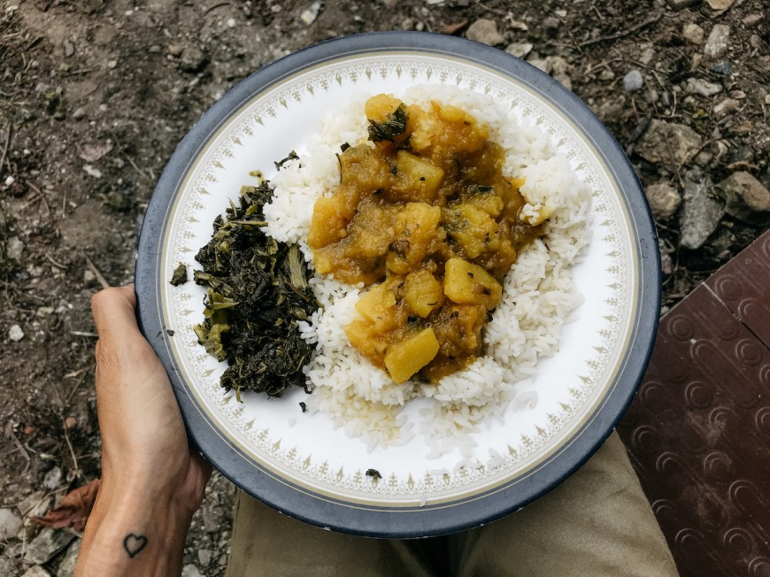 Dal Bhat con calabaza, Nepal