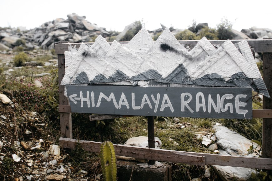 "Cartel ""Himalaya Range"" en el Sarangkot, Nepal"
