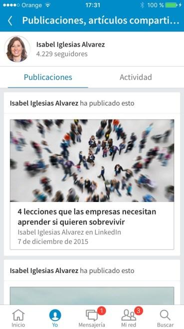 Captura de pantalla de publicaciones realizadas en Pulse