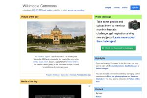 Captura de pantalla de la página web de Wikimedia Commons