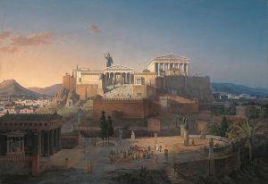 Este cuadro del siglo XIX recrea la vida en el Ágora ateniense