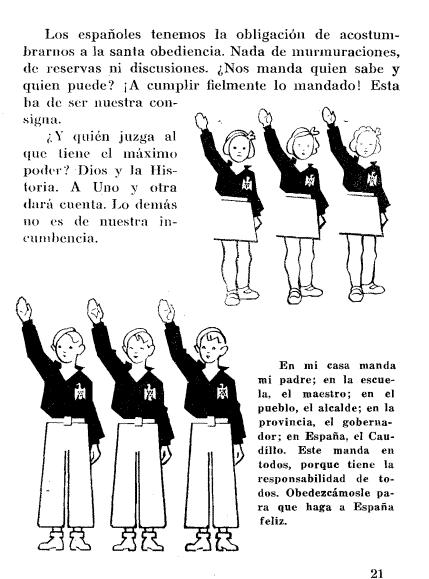 Fragmento del libro de texto de 1940 Así quiero ser.  En él se detalla toda la ideología del régimen. El libro completo se encuentra disponible en internet.