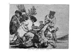 Los desastres de la guerra, n.º 33: «¿Qué hay que hacer más?». Francisco de Goya.