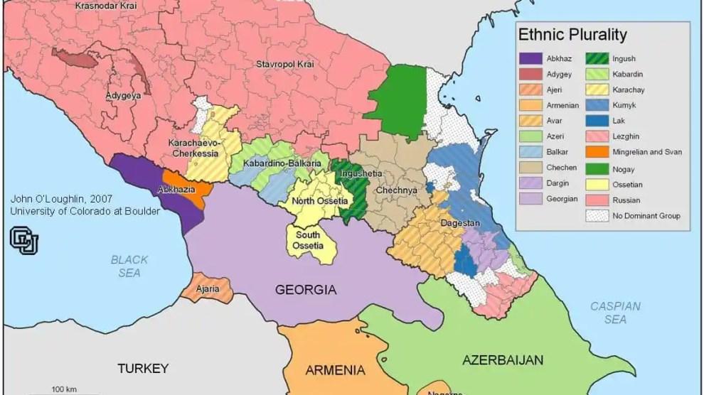 Mapa político y étnico de la región del Cáucaso.