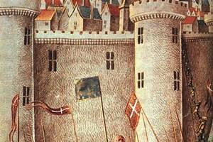 Representación del asedio de Antioquía durante la primera cruzada en una miniatura medieval (Wikimedia).