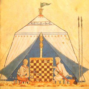Un cristiano y un musulmán jugando al ajedrez en una tienda (Wikimedia).