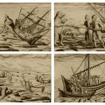 Grabados en el diario del oficial Gerrit de Veer, ilustrando escenas de la tercera expedición (1596)