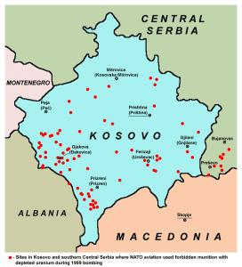 Sitios de Kosovo y el sur de Serbia donde la OTAN bombardeó con munición prohibida de uranio empobrecido (Wikimedia).