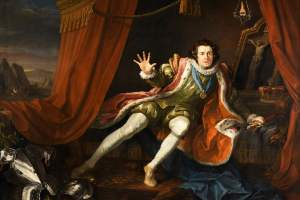 Pintura de William Hogarth (1745), en la que representa al actor David Garrick interpretando a Ricardo III en la obra homónima de Shakespeare. El rey despierta de un pesadilla en la víspera de la batalla de Bosworth, con miedo a los fantasmas de sus enemigos derrotados.
