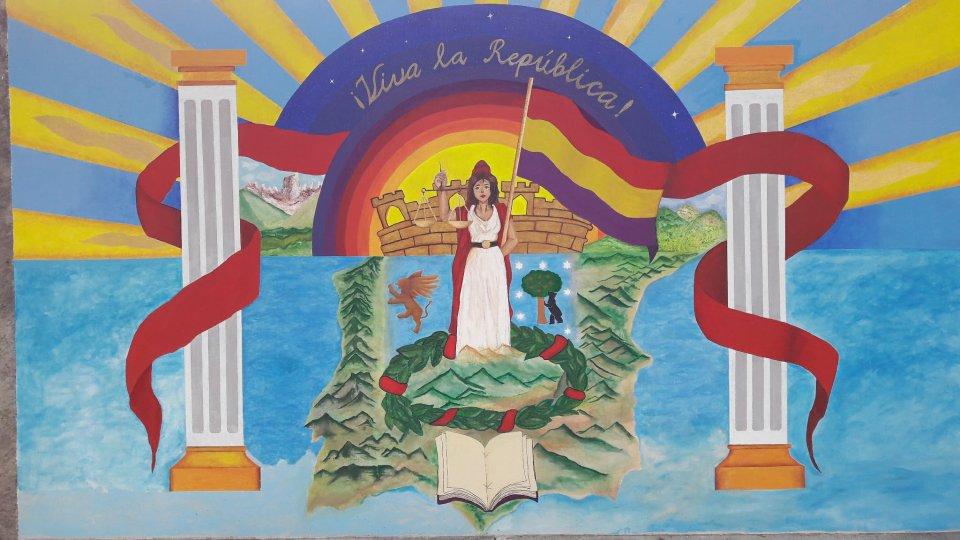 Mural del Colegio Madrid, una de las instituciones fundadas por los exiliados españoles que todavía perdura en México. Fuente: @mapuchmex (Twitter).