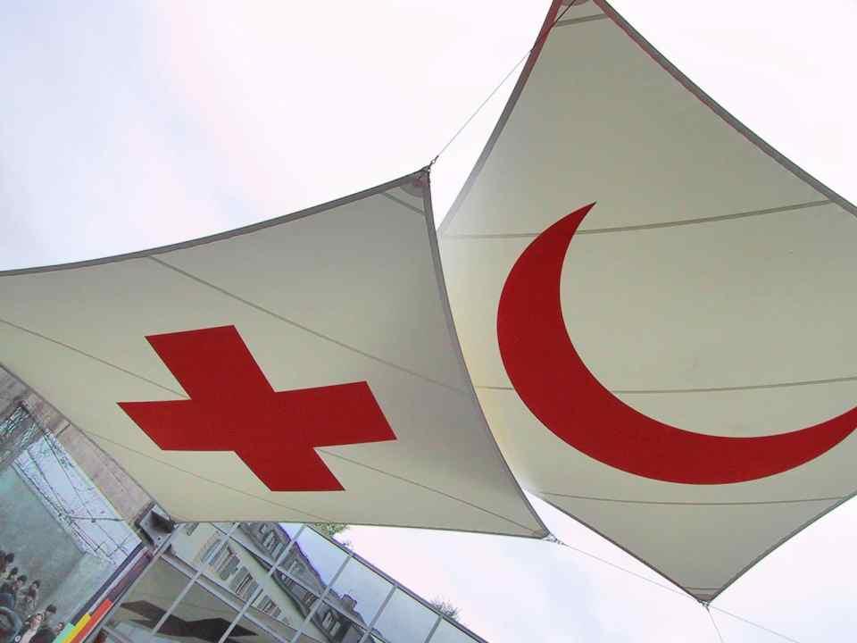 Los emblemas de la Cruz Roja y la Media Luna Roja en el museo de Ginebra (Wikimedia).