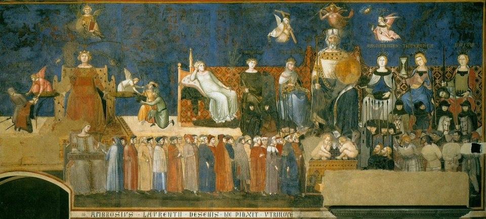 'Alegoría del Buen Gobierno', fresco de Ambrogio Lorenzetti (1290-1348) ubicado en el Palazzo Pubblico de Siena (Wikimedia).