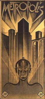 Cartel con logotipo de la película Metrópolis de Fritz Lang (1927)