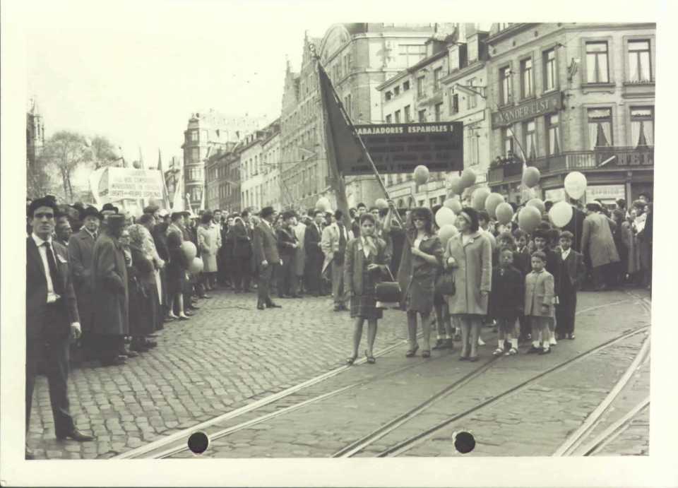 Manifestación por los detenidos en España, 7 de octubre de 1962, Bruselas. Fundación Francisco Largo Caballero