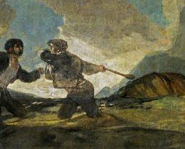 Duelo a garrotazos, de Francisco de Goya (Wikimedia), que figura el origen de las dos Españas.