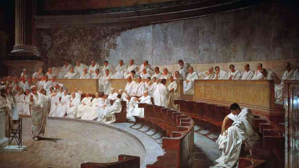 Cicerón pronuncia su discurso contra Catilina, pintura de Cesare Maccari.