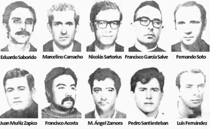 Procesados de CCOO en el Juicio 1001 1972-73. Fundación Juan Muñiz Zapico