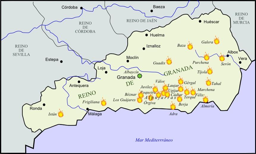 Principales focos de la rebelión morisca de Granada 1568-1571 en las Alpujarras.